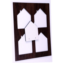 Girocollo con pendente in legno bianco Ø 30 immagine Sacro Cuore Gesù